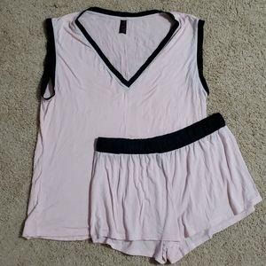 Women's Pink & Black Sleepwear Pajama Set